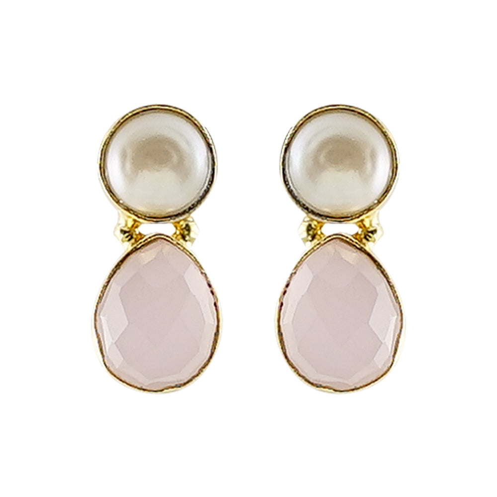 Golden Earrings w/ Cultured Pearl & Pink Stone