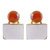Golden Earrings w/ Orange & Grey Stone