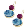 Golden Earrings w/ Purple & Blue Stones
