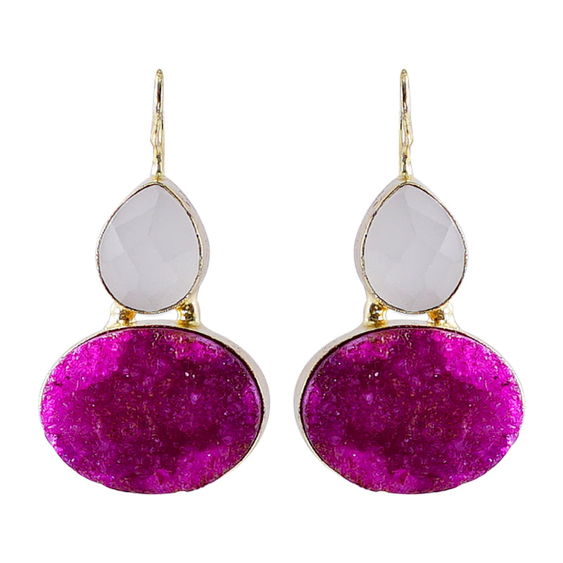 Golden Earrings w/ White & Purple Stone