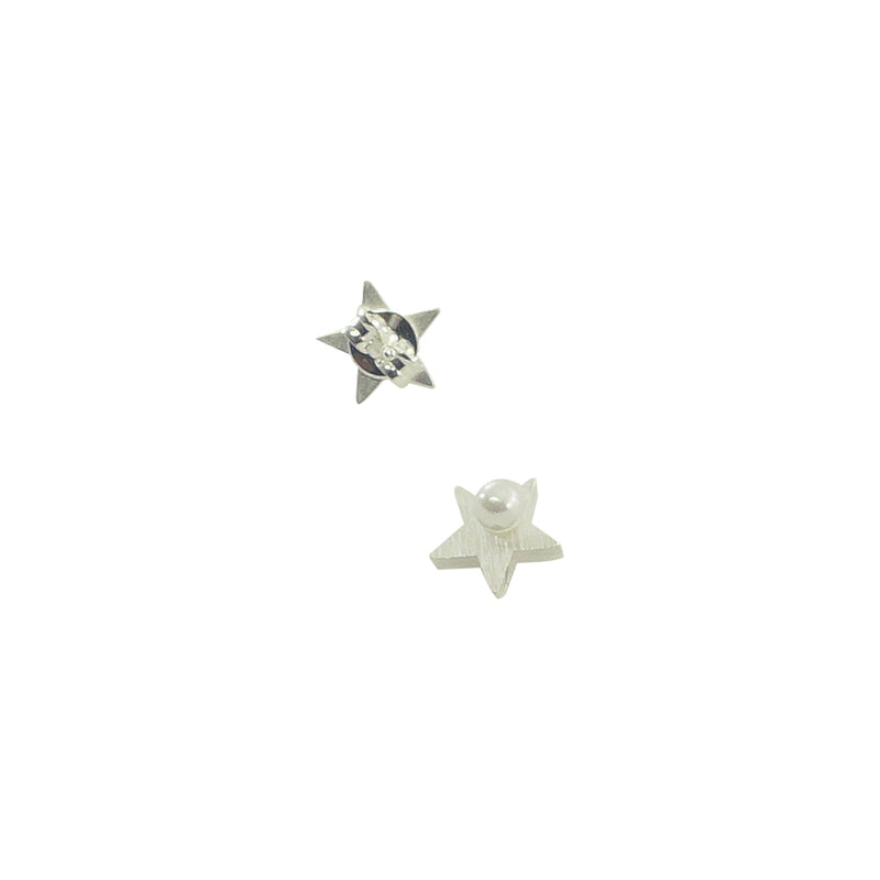 Scratched Silver Star Earrings w/ Cultured Pearl