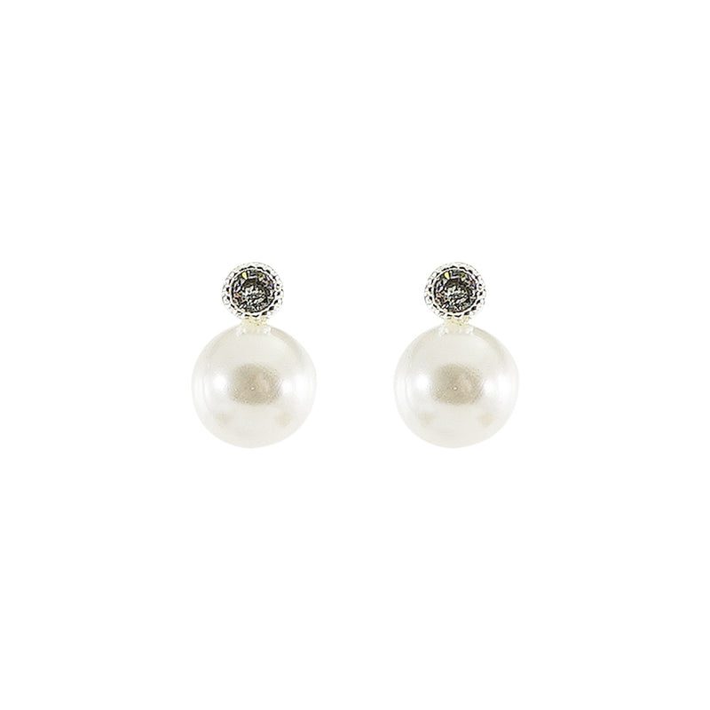 Silver Earrings w/ Cultured Pearl & Crystal
