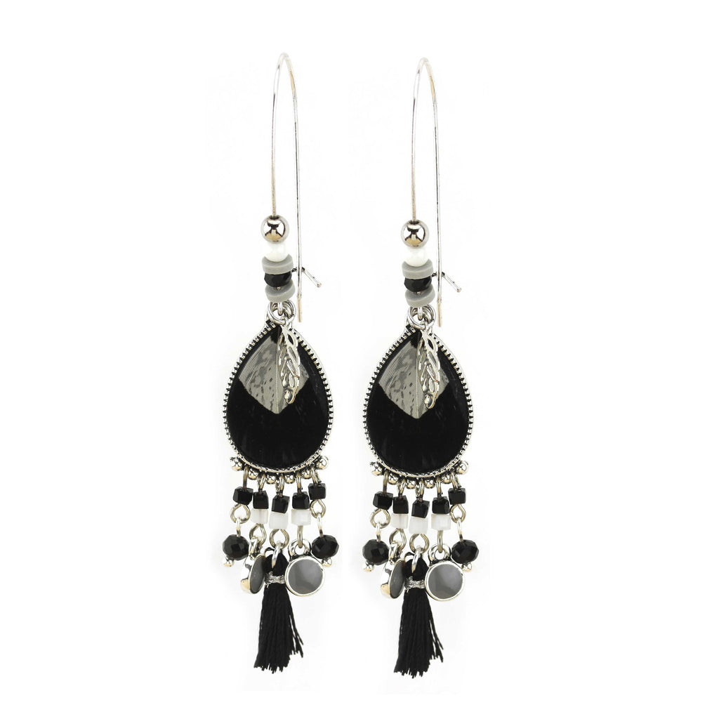 Silver Earrings with Black Tassel