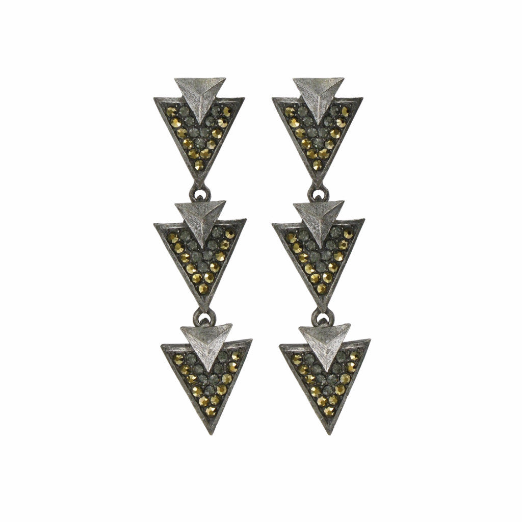 Geometric Earrings with Cystals
