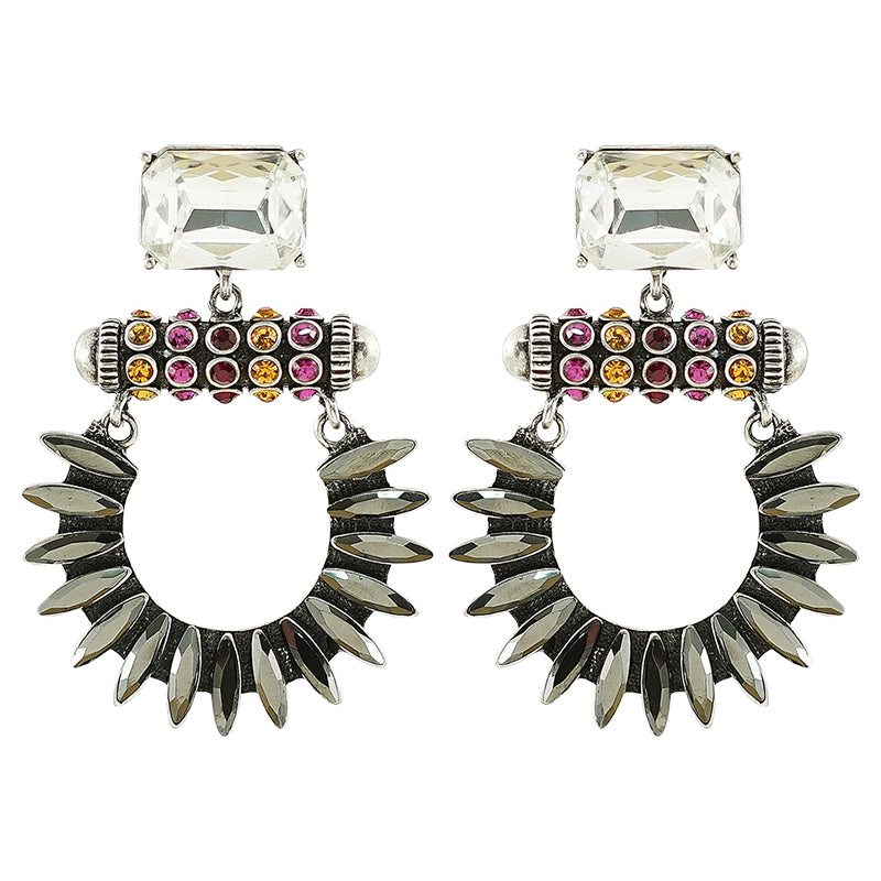 Silver Earrings w/ Multicolored Crystals