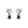 Gunmetal Earrings w/ Mother of Pearl & Crystal
