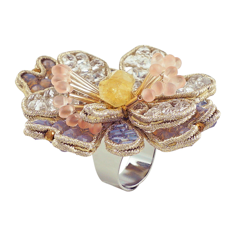 Multicolored Crystal & Stone Firefly Ring
