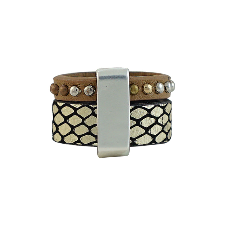 Patterned Ring w/ Silver Details