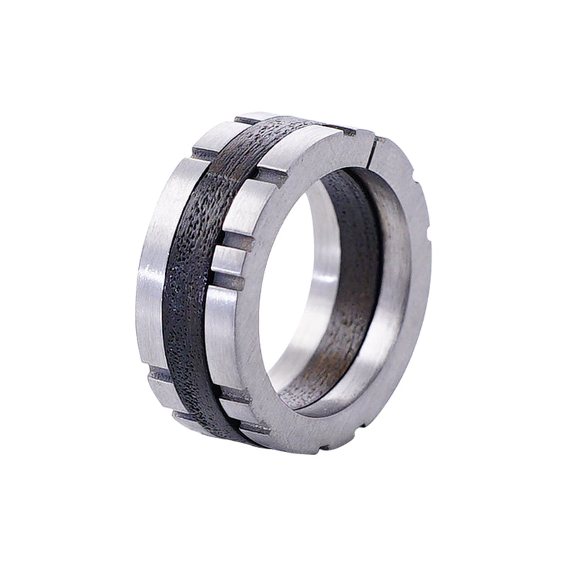 Metal Ring w/ Dark Brown Detail