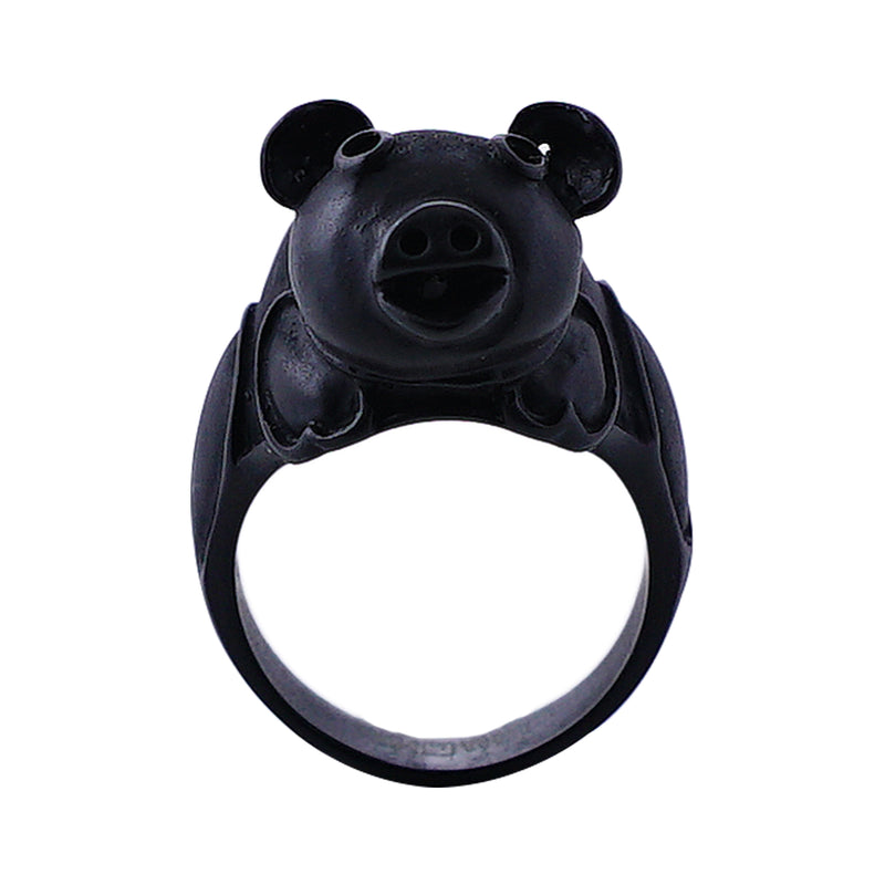 Black Metal Pig Ring
