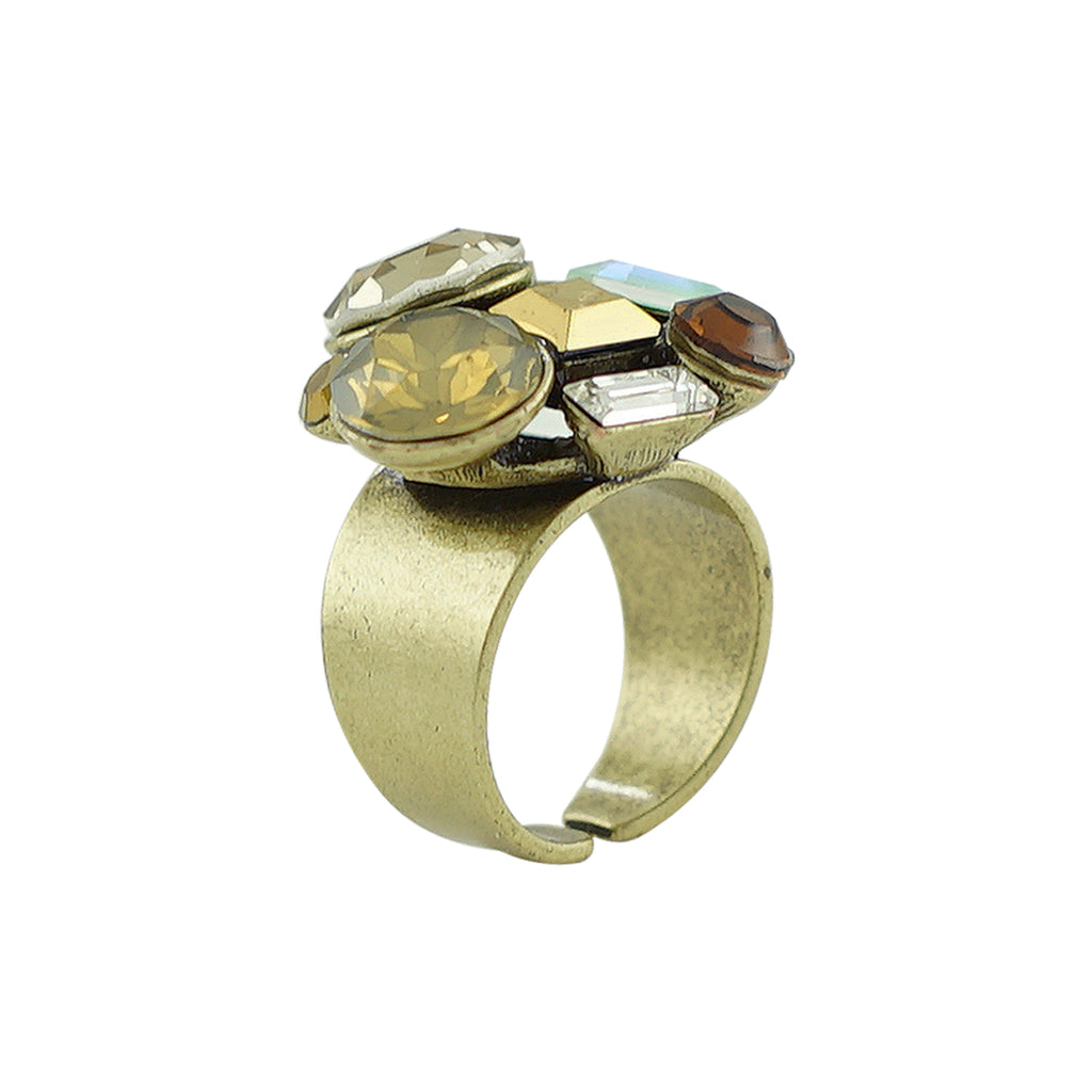 Brass Ring w/ Multicolored Crystals