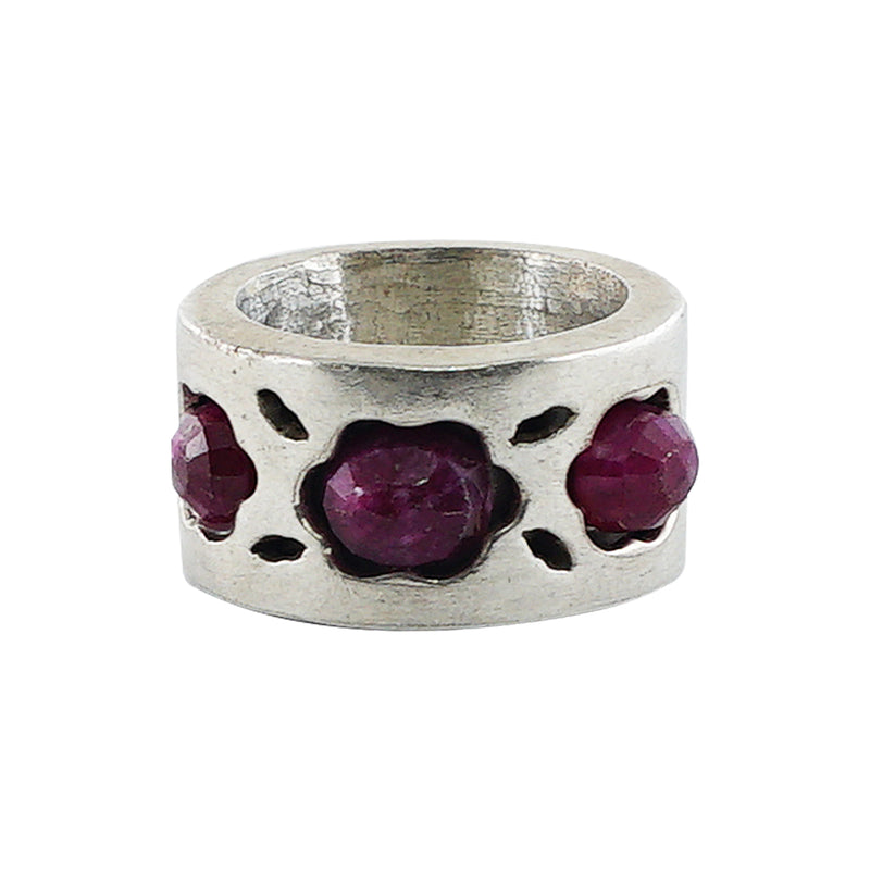 Sterling Silver Ring w/ Purple Stones