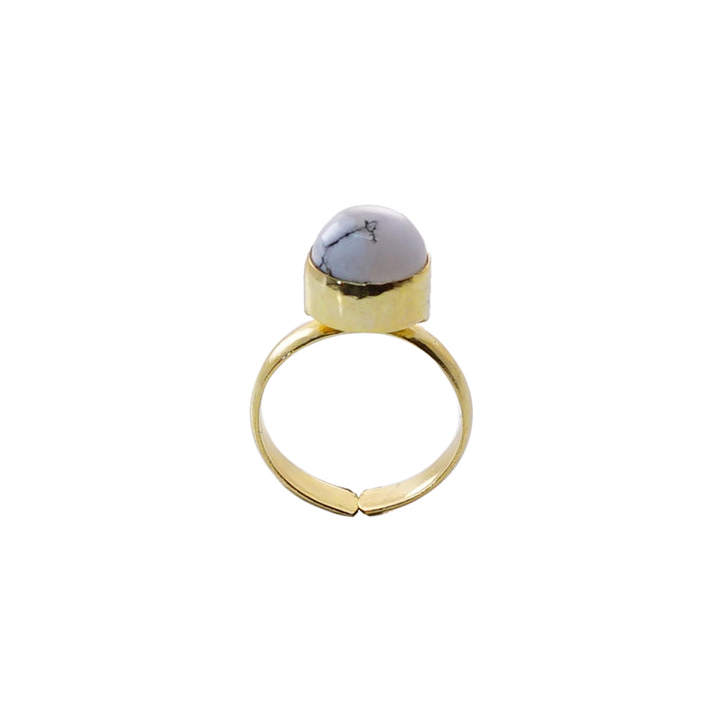 White & Grey Stone Ring