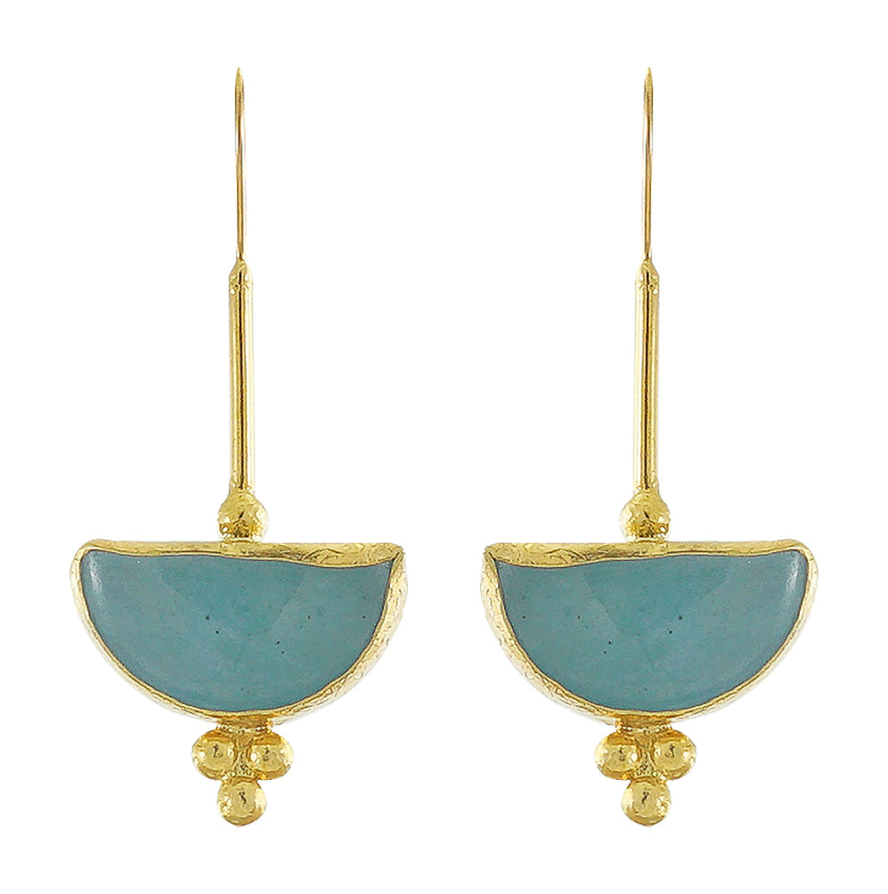 Golden Earrings w/ Blue Jade
