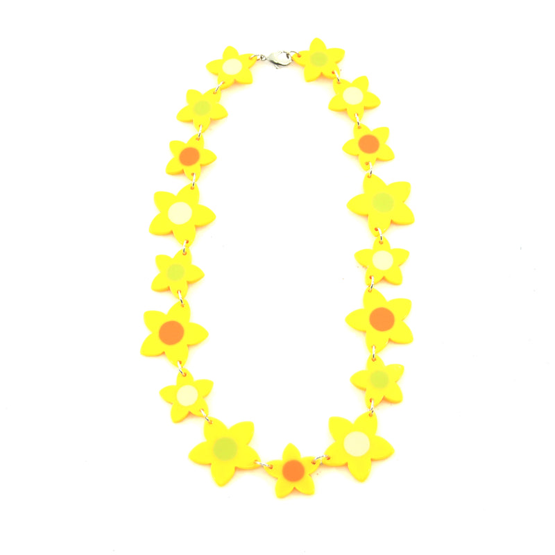 Yellow necklace with resin flowers