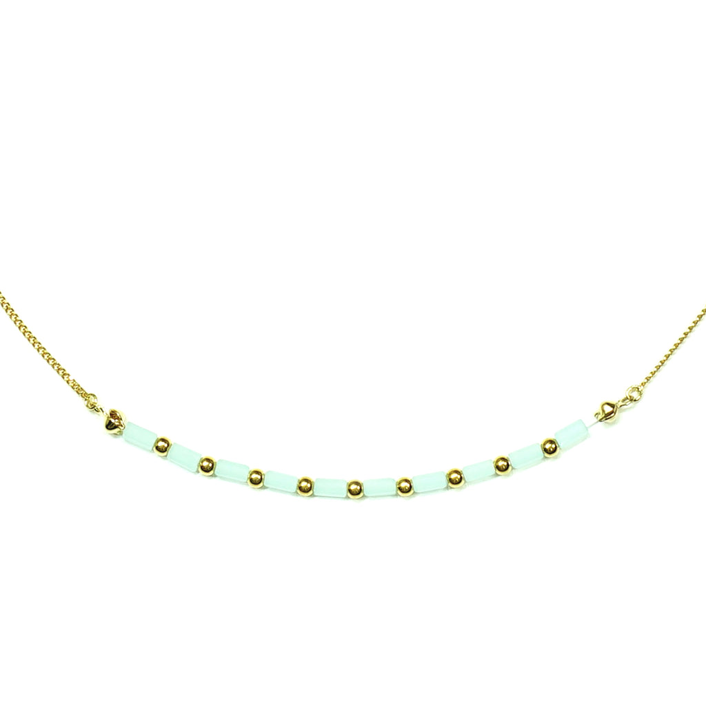Gold Necklace w/ blue beads