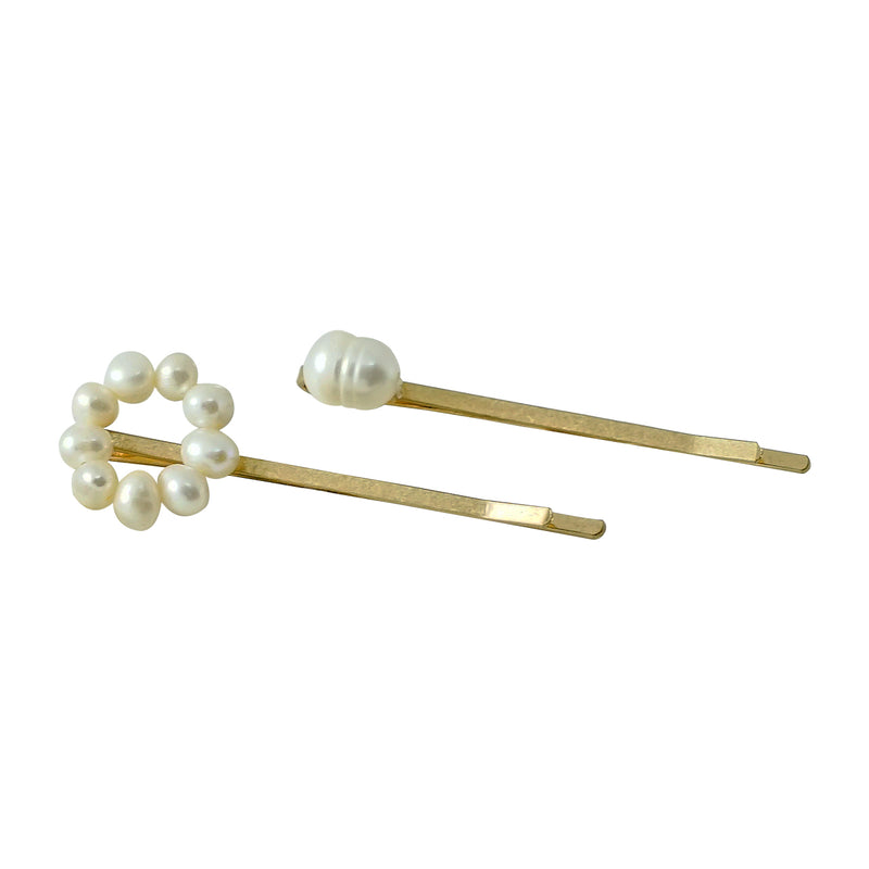 Golden Hairclips w/ Cultured Pearls