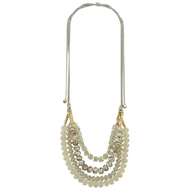 Crystal Necklace w/ Golden Beads