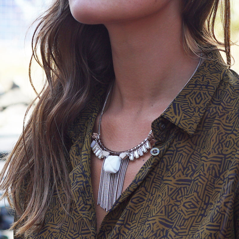 Beige & Brown Chain Necklace