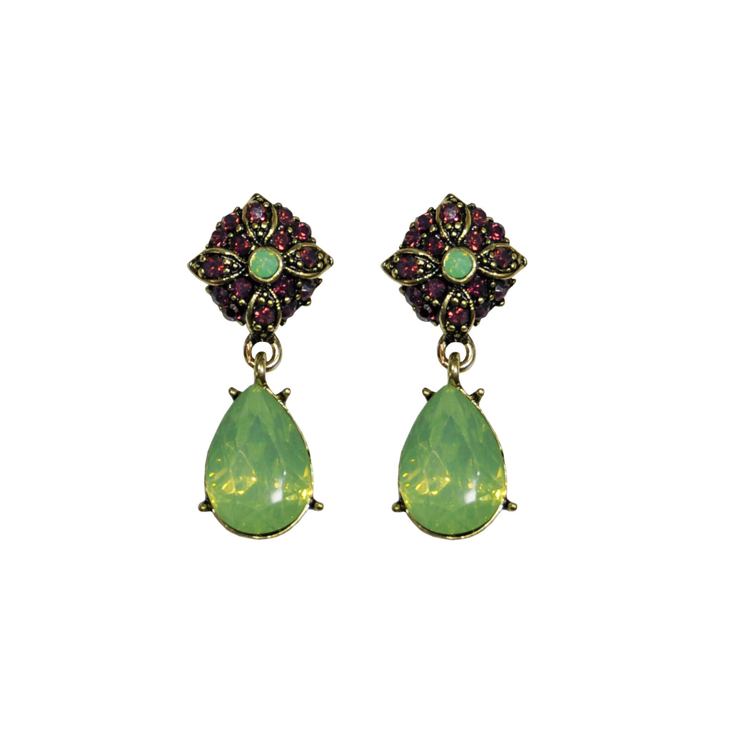 Purple and green crystal earrings