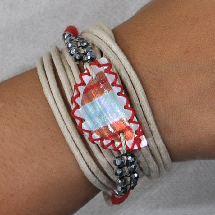 Bracelet/Necklace w/ Crystals & Patterned Mother of Pearl