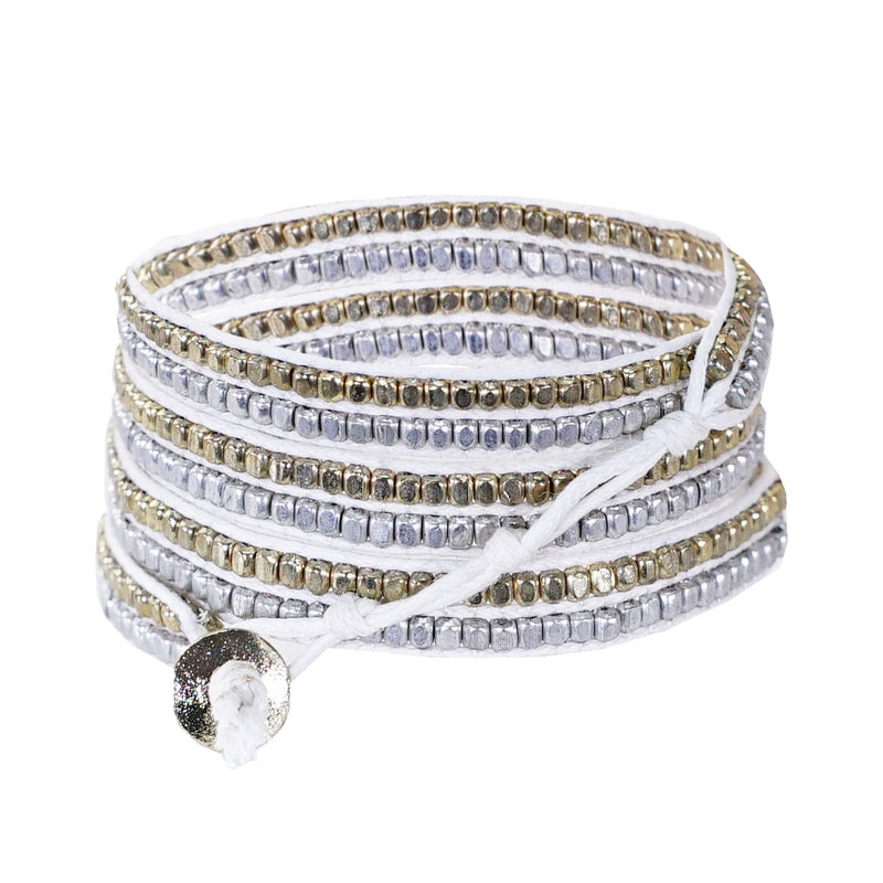 White string bracelet w/ golden & silverish beads