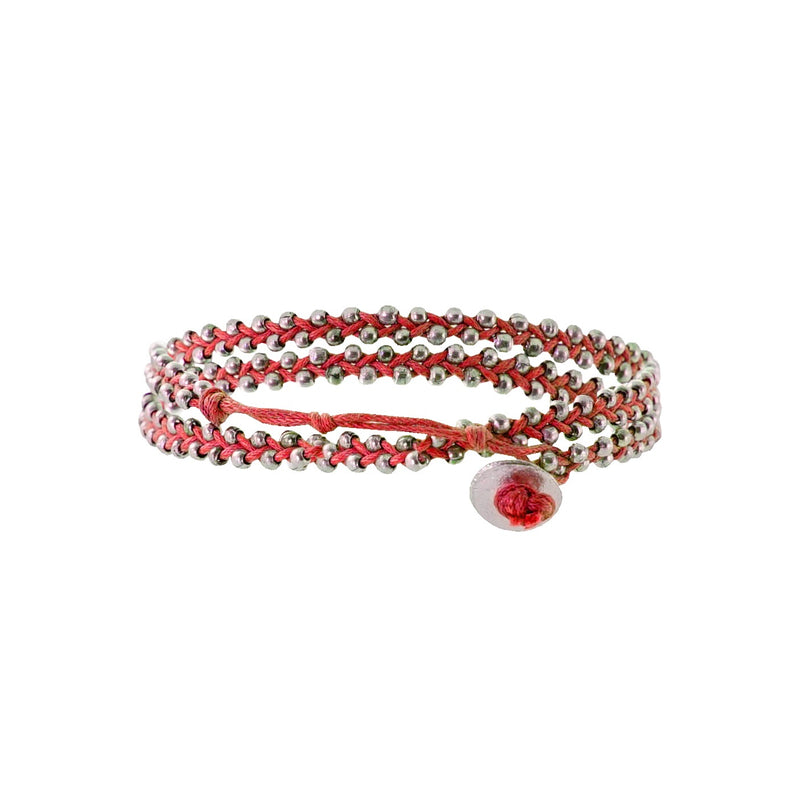 Red string bracelet w/ silverish beads