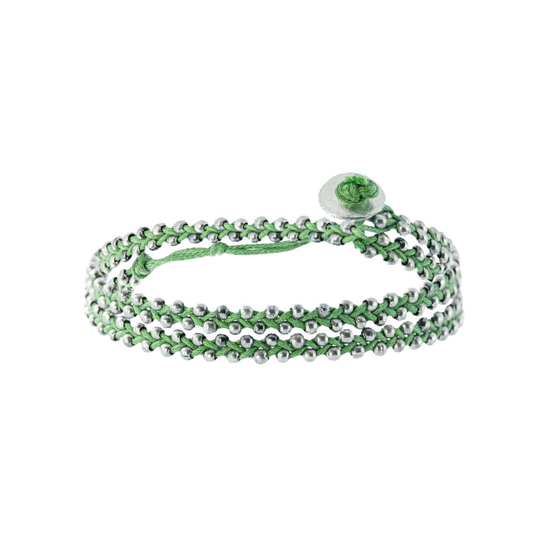 Green string bracelet w/ silverish beads