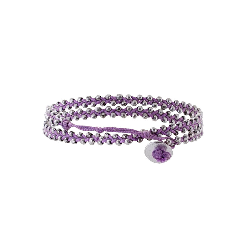 Purple string bracelet w/ silverish beads