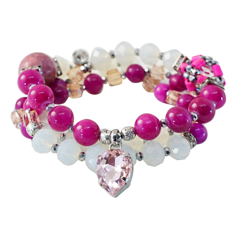 Pink & Opal Stone & Crystal Bracelet/Necklace