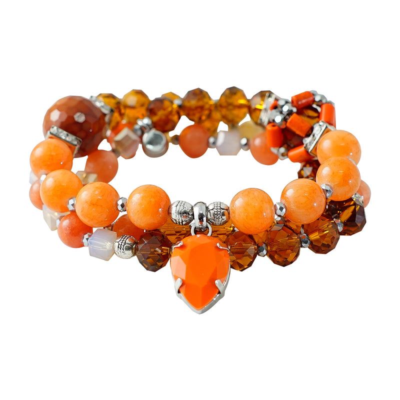 Orange Stone & Crystal Bracelet/Necklace
