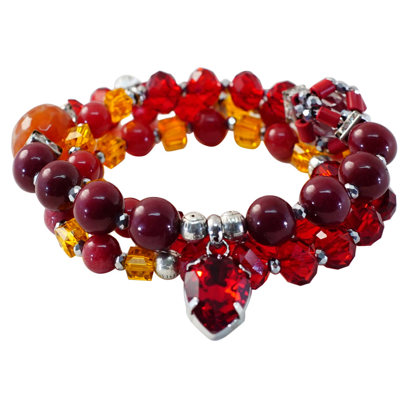 Red and Orange Stone & Crystal Bracelet/Necklace