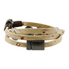 Multirow leather bracelet w/ round shapes