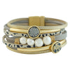 Golden Bracelet w/ Cultured Pearls & Stone
