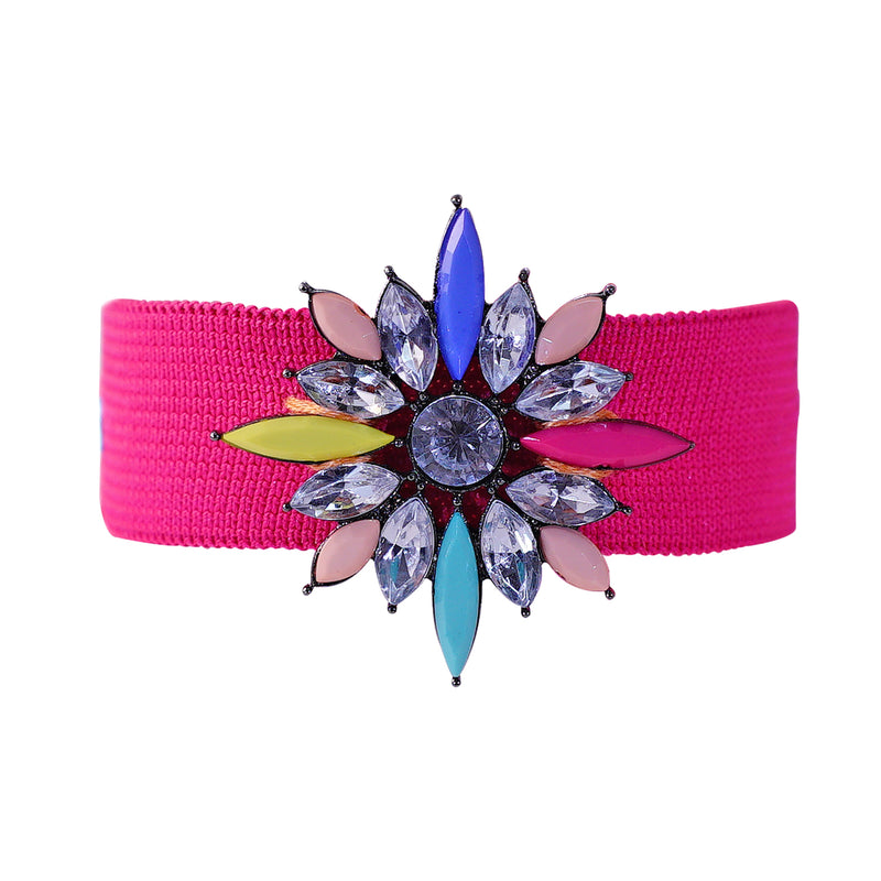 Pink Strap Bracelet w/ Multicolored Crystals
