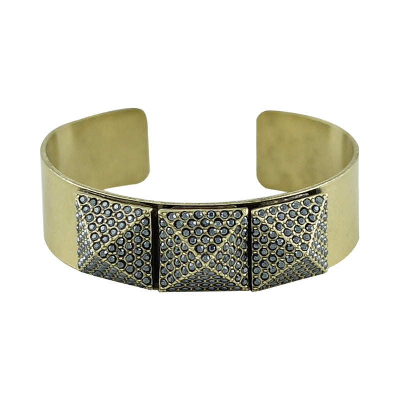 Brass Plated Bracelet w/ Gunmetal Crystals