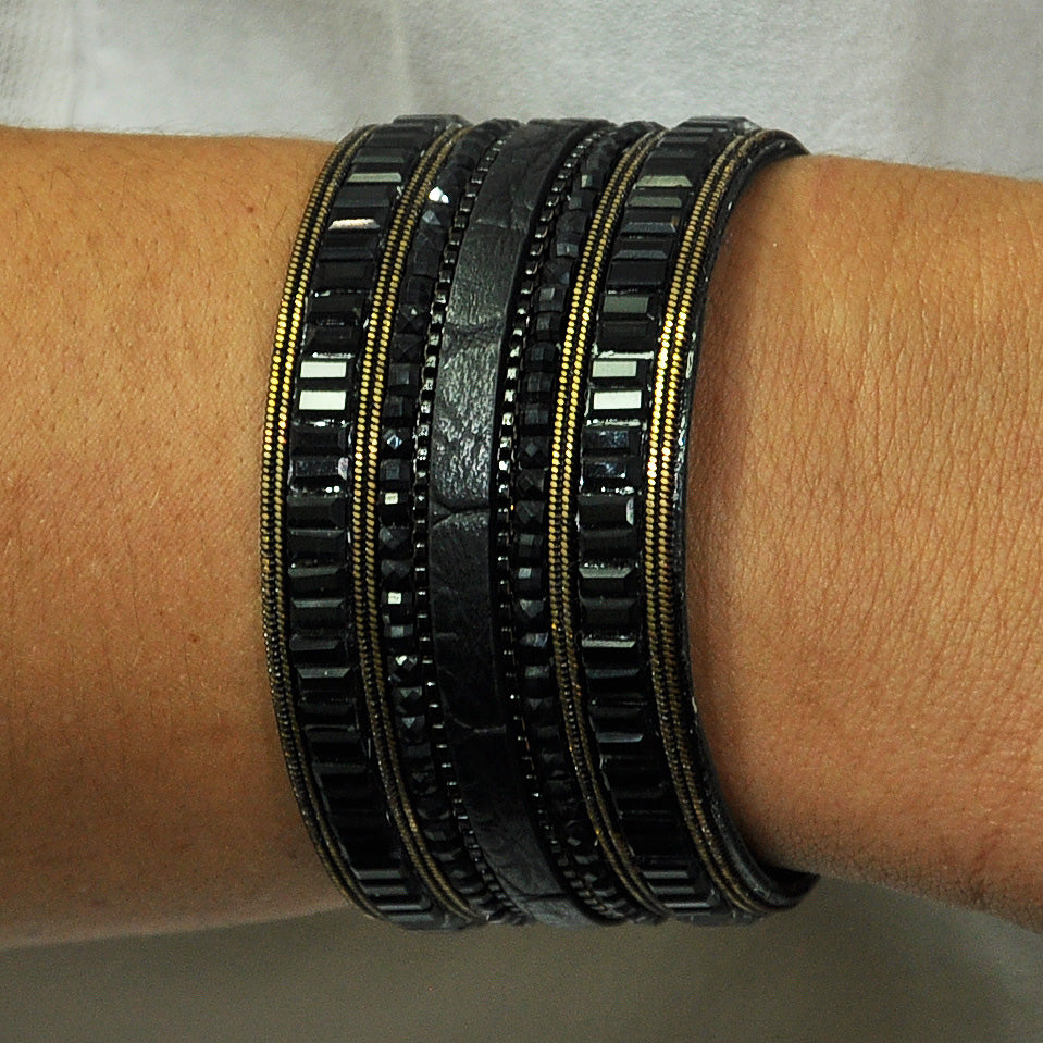 Black Crystal & Leather Bracelet