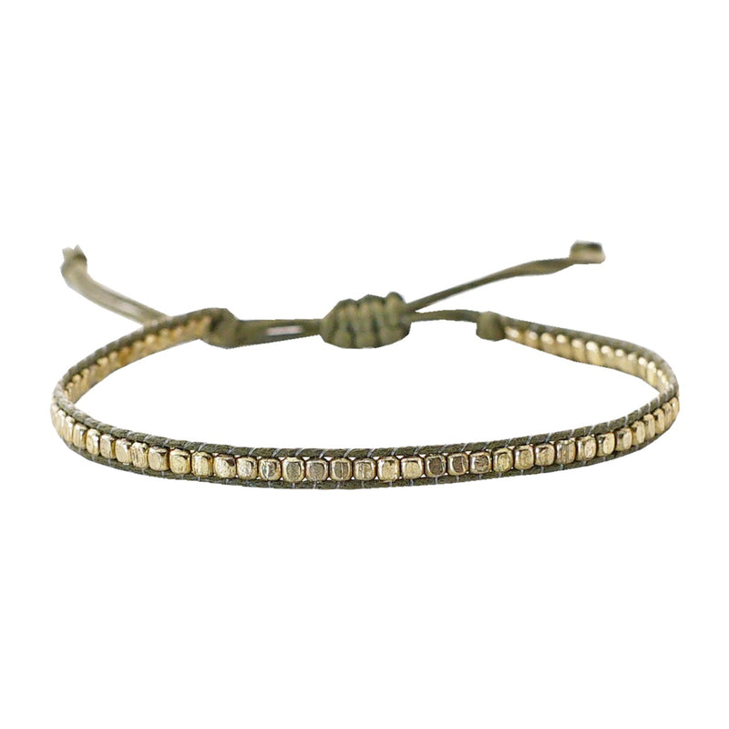 Army green string bracelet w/ golden beads