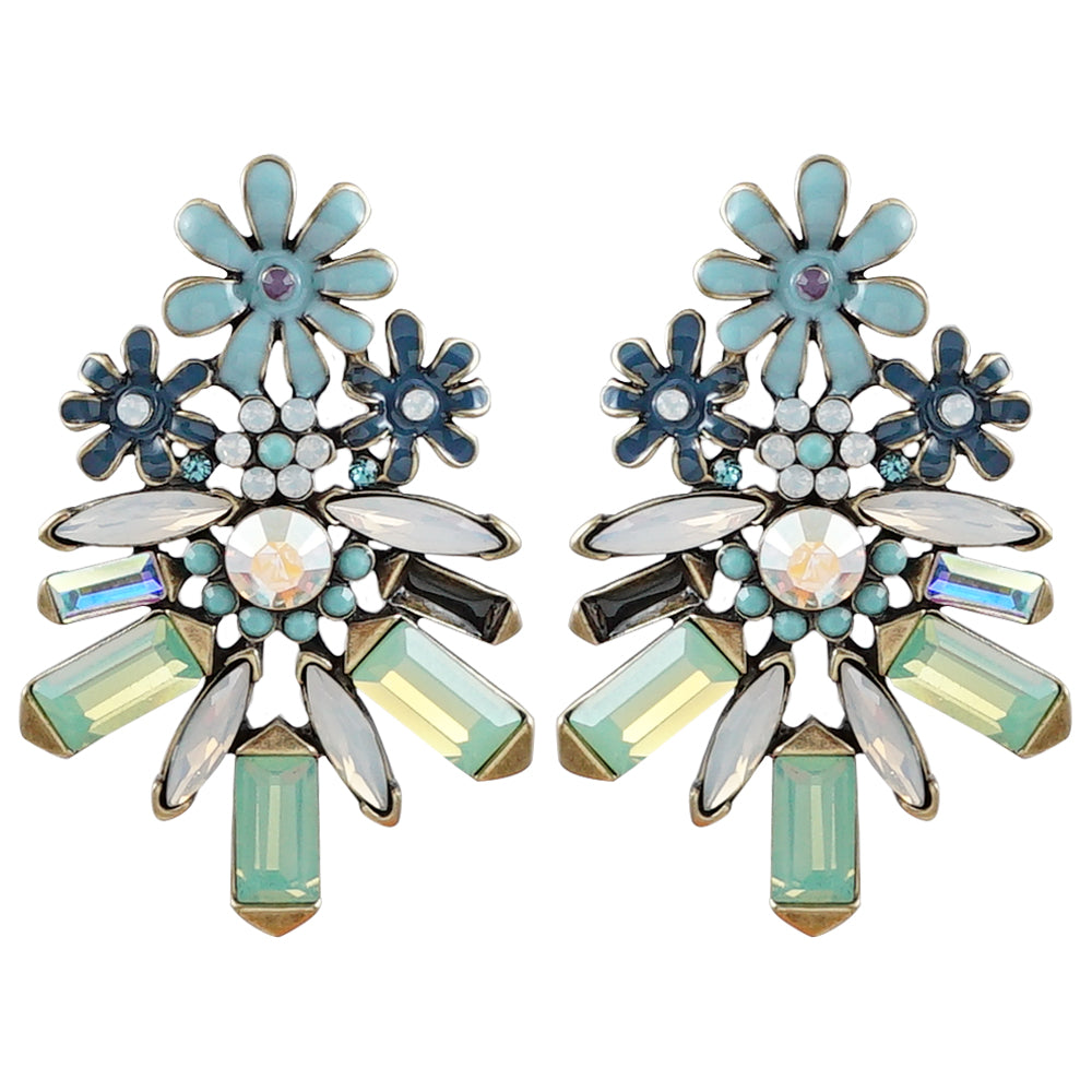 Blue Enamel Flower Earrings w/ Crystals