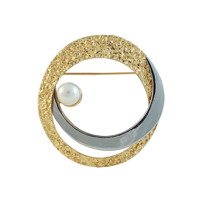 Golden & Gunmetal Brooch w/ Cultured Pearl
