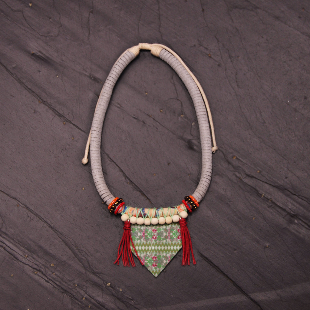 Wood Necklace with Green Pendant & Red Tassels