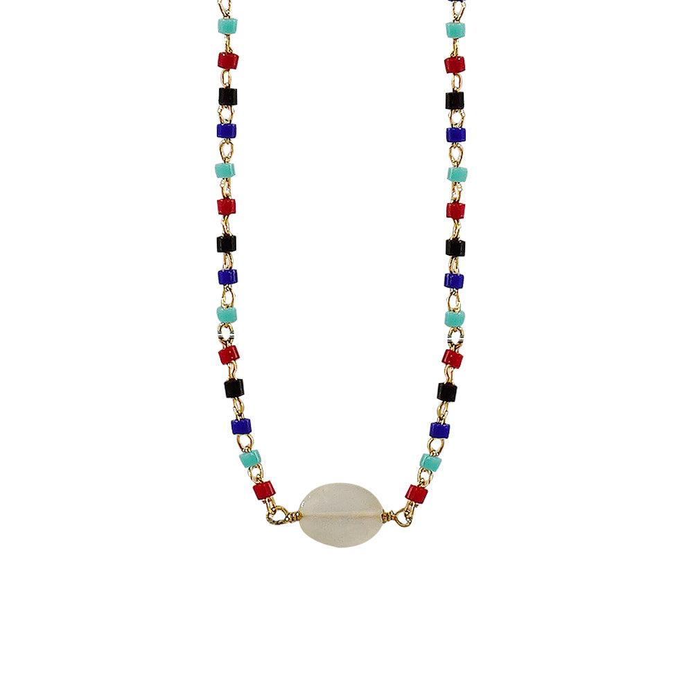 Multicolored Necklace w/ White Stone