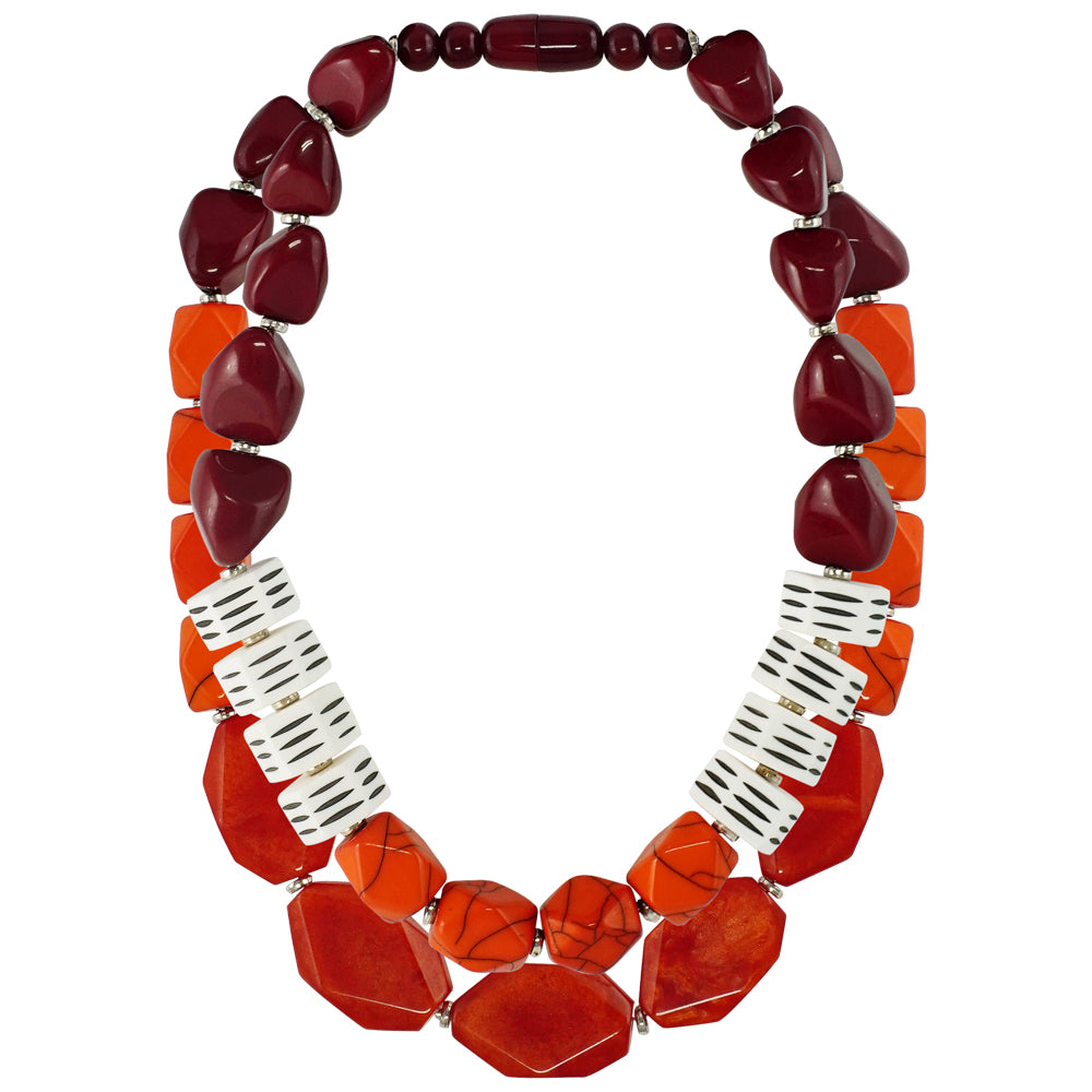Red & Orange Resin Double Necklace