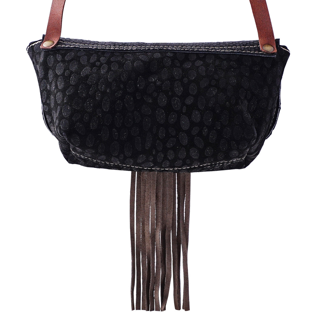 Black Leather Bag w/ Brown Fringes