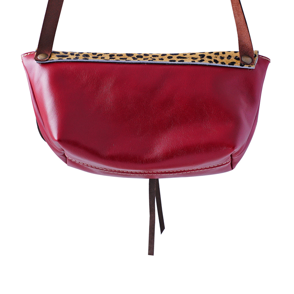 Red Leather Bag w/ Leopard Pattern
