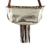 Golden Leather Bag w/ Brown Fringes & Pattern