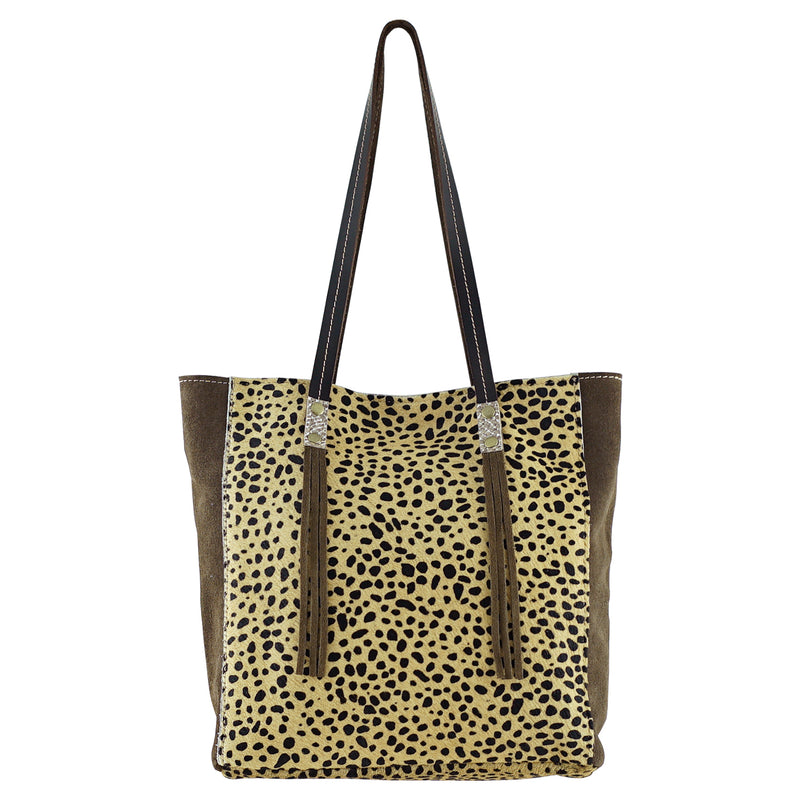 Brown Leather Bag w/ Patterned Fur