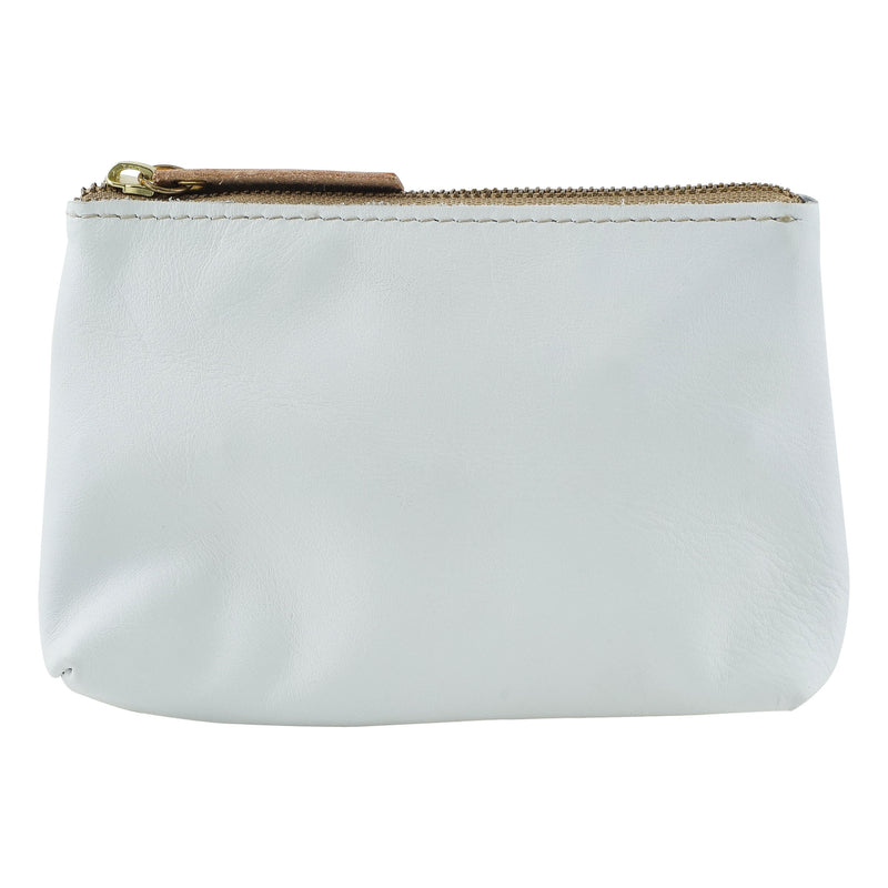 White & Beige Leather Handbag