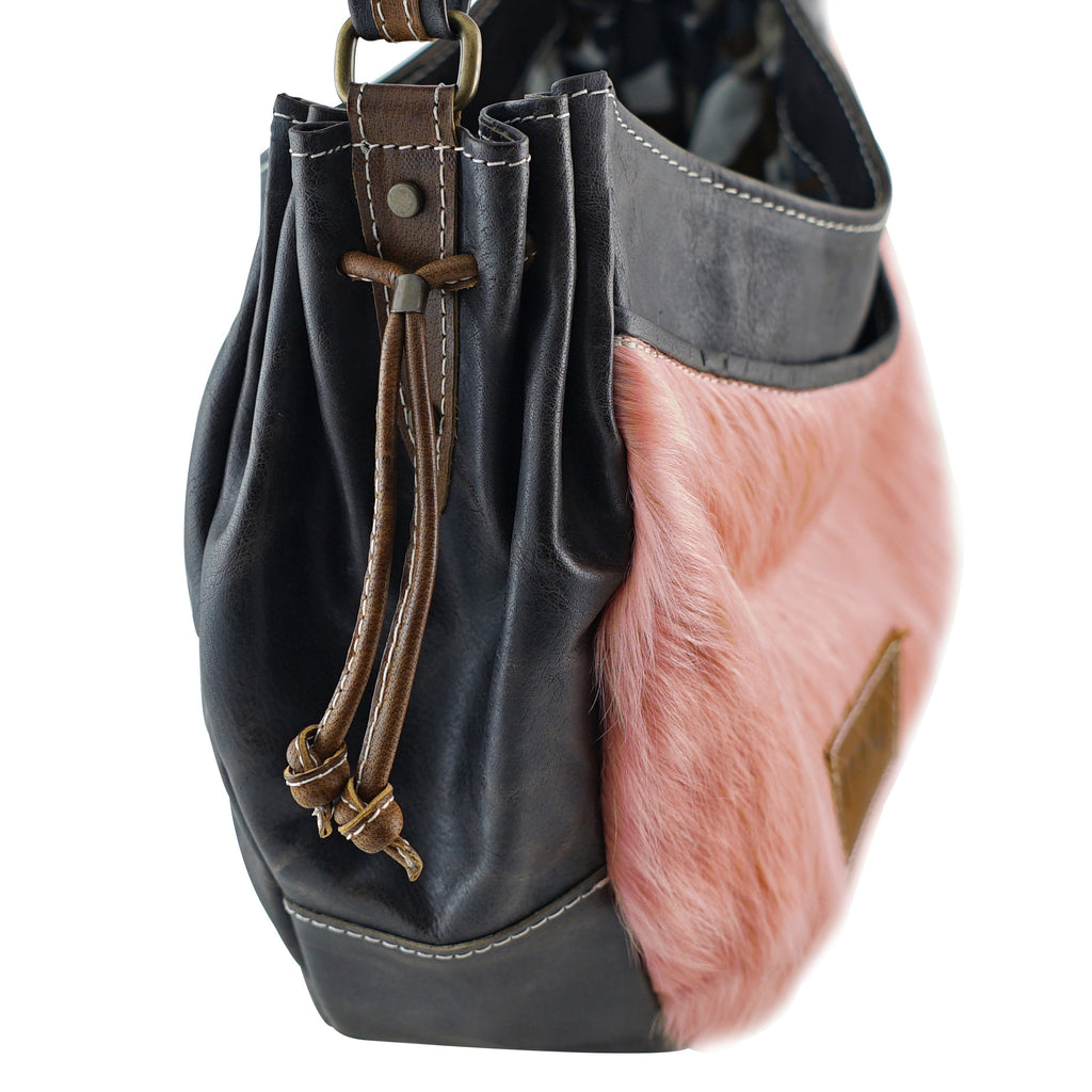 Brown Leather Bag w/ Pink Fur