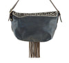 Black Leather Bag w/ Brown Fringes & Pattern